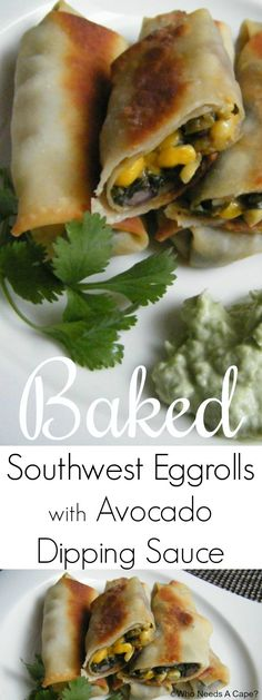 Need a tasty appetizer for holiday parties? Make these easy Baked Southwest Eggrolls with Avocado Dipping Sauce, they are packed with yum and always a hit.
