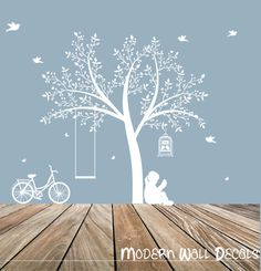 tree decal: wall decals, nature wall decals, vinyl wall decal,  wall decal stickers, tree, bike decal, bike, nursery wall stickers