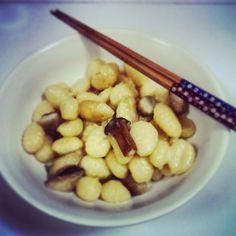 Gnocchi with eringi mushrooms, mozzarella and white truffle oil