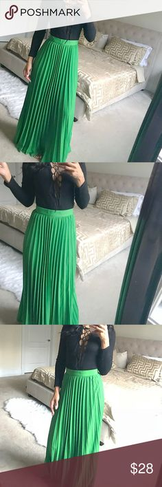 "Knit Shirt & Emerald Green Maxi Skirt - 2 Pieces Please read: This outfit comes as a set. Black knit bodysuit, Small. Emerald green maxi skirt, Large. Things to know about the skirt: it is floor length, it is slightly large around my waist about 1/2"". Never purchased a belt for it but you could to accessorize.  Model stats: Height 5'7"", weight: 132, bra: 34D Dresses Maxi"