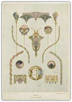Bijoux Modernes (c. from a series of Art Nouveau designs by René Beauclair Motifs Art Nouveau, Design Art Nouveau, Art Nouveau Pattern, Bijoux Art Nouveau, Art Nouveau Jewelry, Pattern Art, Jewelry Art, Fine Jewelry, Gold Jewelry