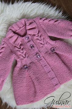 Пальто для девочки - #девочки #для #Пальто Baby Cardigan Knitting Pattern, Baby Knitting Patterns, Baby Patterns, Crochet Coat, Crochet Clothes, Crochet Baby, Knitted Hats Kids, Kids Frocks Design, Kids Coats