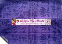 Indian Block Print Cotton Floral Squares Blue Light Fabric