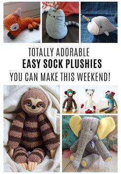 Sock Elephant Pattern, Sock Monkey Pattern, Sock Monkey Baby, Plush Pattern, Diy Sock Toys, Sock Crafts, Diy Crafts, Decor Crafts, Sock Monkey Crafts