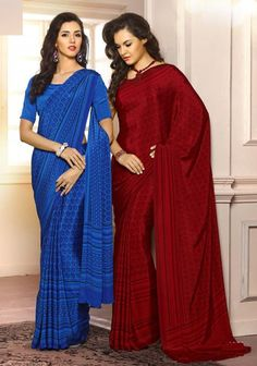 Blue / Red Color Crepe Printed Sarees : Helen Collection YF-23288