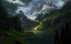 Fantasy Town, Fantasy Castle, Valley Landscape, Mountain Landscape, Fantasy Landscape, Landscape Art, Warhammer Fantasy Roleplay, Anime Places, Mountain City