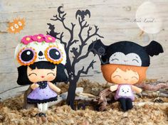 PDF Pattern. Halloween dolls with hats Mexican skull by Noialand