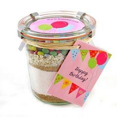 leckere & dekorative Geburtstagskuchen im Glas - Backmischung. Perfektes Geschenk zum Verschenken oder Verschicken! Für die beste Freundin, Mama & Schwester