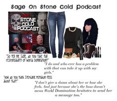 Sage On Stone Cold Podcast by sage-forever on Polyvore featuring Max Azria, Nudie Jeans Co., Charlotte Russe, Reeds Jewelers, Givenchy, NARS Cosmetics, WWE, wwediva, paige and StephanieMcMahon