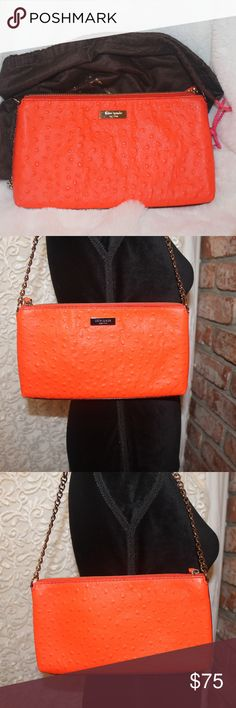 Gorgeous 'Papaya' Kate Spade Bag This is such a beautiful little bag - The pictures show well and the color is between orange and coral, officially named 'papaya' - Not an every day bag but special occasions - holds just enough and wears like a piece of fine jewelry - can't help but look twice ;) - Only used a handful of times - in great loved condition (not claiming perfection:) - Comes with dust bag.  Happy to answer any questions! kate spade Bags Mini Bags