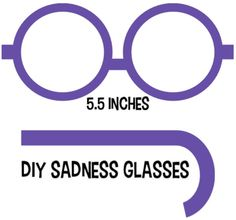 DIY Sadness Glasses. Download out Template to Make Sadness's Purple Glasses. From the Costume Detective