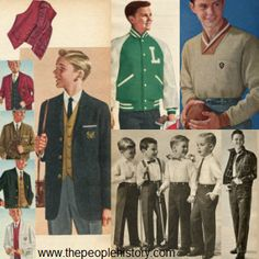 Popular clothing for boys in 1961 included athletic jackets and sporty pullover shirts, as well as Roy Rogers denim outfits, crested blazers for formal occasions and flannel dress shirts and slacks. Fashion Kids, 60s And 70s Fashion, Fashion Clothes, 1960s Outfits, Boy Outfits, Denim Outfits, School Outfits, Decade Day, 1960 Dress