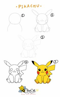 How to draw Pikachu - Pokemon ปิกาจู - โปเกม่อน Drawing Lessons, Drawing Techniques, Amazing Drawings, Easy Drawings, Cute Pokemon, Draw Pokemon, Kawaii Drawings, Step By Step Drawing, Drawing For Kids