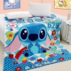 LILO and stitch air conditioning blanket coral fleece blanket star baby blanket promotion single towel blanket sheets