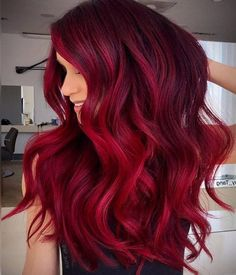 Burgundy Red Hair Burgundy Red HairYou can find Bright red hair and more on our website. Burgundy Red Hair, Vibrant Red Hair, Vivid Hair Color, Hair Color Pink, Hair Dye Colors, Cool Hair Color, Red Pink Hair, Crimson Red Hair, Cherry Red Hair
