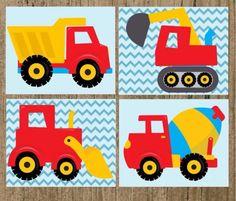 Baby wall art Construction Theme Classroom, Construction Birthday Parties, Construction Party, 3rd Birthday Parties, Kids Room Art, Art For Kids, Crafts For Kids, Truck Nursery, Boys Quilt Patterns