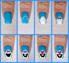 Secrets To Christmas Nail Art Designs Easy Simple 21 Simple Nail Art Designs, Easy Nail Art, Cool Nail Art, Frozen Nail Designs, Nail Designs For Kids, Frozen Nail Art, Frozen Nails, Frozen Art, Olaf Frozen