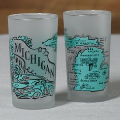 Avintage-inspired frosted Michigan souvenir glass.Just like you remember from grandma's house.  Our vintage-inspired Michigan souvenir glass is perfect for a morning juice glass or an evening c...