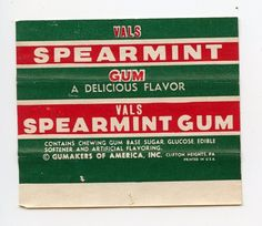 1942 Gumakers of America Vals Spearmint Chewing Gum Inner Wrapper Non Sport Card | eBay