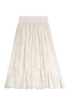 Cut at a ladylike length, this Valentino midi skirt is made from breathable cotton and detailed with delicate white embroidery. A feminine piece with subtle luxury, we love it for summer weddings or your next posh brunch #Stylebop