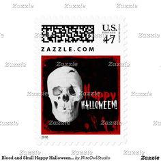Blood and Skull Happy Halloween Postage