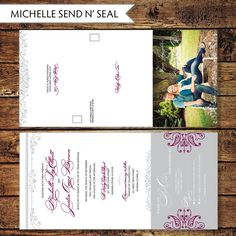 Printable Shabby Chic Seal and Send Wedding Invitation, All in One invite, Digital File, Print at Home - MICHELLE
