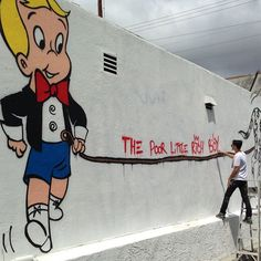"Mural additions! ""The poor little rich boy"" #alecmonopoly #stayup #richierich #graffiti #streetart  #3rdst #lacienega - @alecmonopoly- #webstagram"