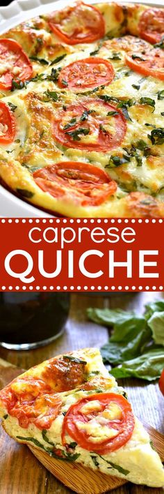 This Caprese Quiche is the ultimate summer breakfast! Loaded with fresh tomatoes, basil, and mozzarella cheese, it comes together quickly and has all the best flavors of summer! And...it's not just for breakfast. This Caprese Quiche makes a great lunch or Quiches, Vegetarian Recipes, Cooking Recipes, Healthy Recipes, Vegetarian Quiche, Kitchen Recipes, Breakfast Dishes, Breakfast Recipes, Breakfast Quiche
