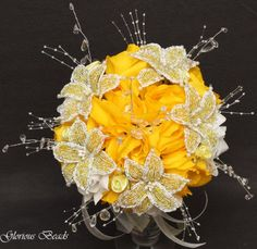 Amazon.com: Yellow Beaded Lily Wedding Flower 17 piece set with Yellow and White Roses ~ Unique French beaded flowers and beaded sprays: Handmade
