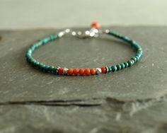 Coral Turquoise Bracelet sterling natural by bluegreenjewels