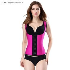 #FASHION #NEW Raspberry Sle Latex Vest Waist Trainer Corsets Hot Shapers Steel Boned Latex Waist Cincher Workout Slimming Belts Body Shapers