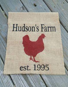 Personalized Farm Garden Flag, Farmhouse Sign, Farmhouse Decor, Family Name… Chicken Coop Signs, Farm Chicken, Chicken Coops, Farmhouse Signs, Farmhouse Decor, Pig Roast Party, Raising Cattle, Burlap Flag, Yard Flags