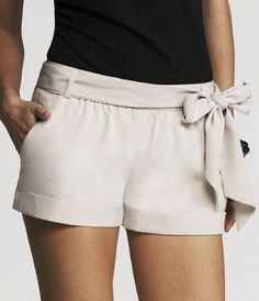 Beautiful belted shorts. Easy to dress up and dress down. Want!