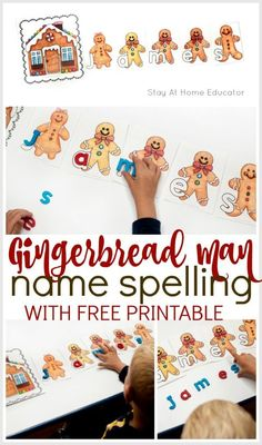 Need a gingerbread activity for your preschool gingerbread theme? Add this free gingerbread man printable to your Christmas preschool theme. Make a train of gingerbread men from the gingerbread house by putting them in alphabetical order. Or teach name spelling with the same printable. Kindergartners can use the gingerbread alphabet cards to spell cvc words or even sight word spelling practice. Add it to your homeschool preschool activities, to circle time or to your Christmas preschool centers.