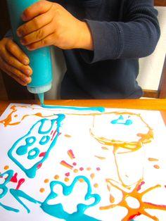 Pintura en relieve con ni os experimento con harina - Pintura para microondas ...