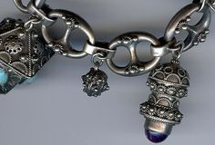 Vintage Italy 800 Silver Chunky Gem Stones Ornate Fob Baubles Charm Bracelet | eBay