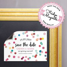 Confetti save the date card on our luxury textured card, or as a high quality save the date magnet. High quality white or ribbed kraft envelopes are also available.