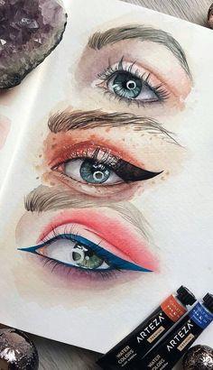 How to draw a realistic eye! Part eye drawing tutorial; Blue Drawings, Cartoon Drawings, Cool Drawings, Pencil Drawings, Realistic Eye Drawing, Human Drawing, How To Draw Realistic, Drawing Women, Realistic Cartoons