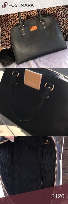 Michael Kors handbag Mk Black saffiano leather  Gold hardware  Large bag with a small zip pocket on the inside MICHAEL Michael Kors Bags