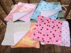 Flannel and Terry Cloth Baby Washcloths  by NanasQuiltsandGifts, $7.50