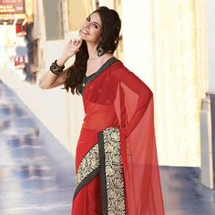 Red Faux Chiffon Saree with Blouse