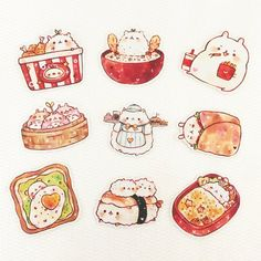 Cute Food Drawings, Cute Kawaii Drawings, Cute Animal Drawings, Kawaii Art, Cute Food Art, Cute Art, Kawaii Stickers, Cute Stickers, Hyanna Natsu