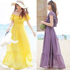Women's Ruffled Bateau Beach Maxi Dress