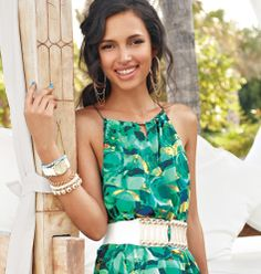 mark Island Elegance Maxi Dress, The White Approach Belt, White About Now Watch, Glimmer & Gleam Bracelets, and Hang with Me Earrings. #summerfashion #instantvacation