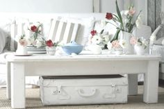 Decoration, Vintage White Coffee Table Suitcase With Floral Collection Small Living Room Color Ideas: Eye-Catching Floral Arrangements Small Living Room Welcoming Spring