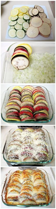 Summer Vegetable Tian  Made 6/4/2014  and again the next day because it was so good. Added Japanese eggplant and just sliced onions for bottom layer.  Also sandwiched transparent thin slices of garlic in between some of the sliced vegetables. Also brushed olive oil over the top of dish before baking to keep it from drying out.