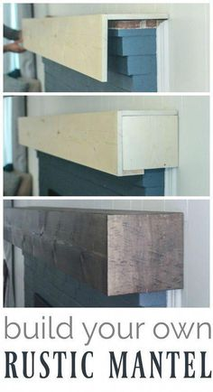 DIY rustic fireplace mantel the cure for a boring fireplace Learn how to build a., DIY rustic fireplace mantel the cure for a boring fireplace Learn how to build a. Rustic Fireplace Mantels, Diy Mantel, Fireplace Redo, Farmhouse Fireplace, Fireplace Ideas, Fireplace Design, Brick Fireplace Remodel, Reclaimed Wood Fireplace, Painted Brick Fireplaces