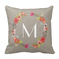 rustic floral wreath monogram throw pillow
