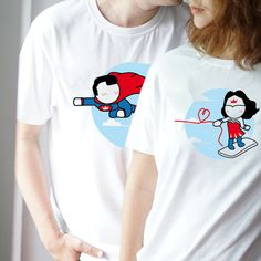 "With a superman & wonder woman cartoon figures, BoldLoft ""Made for Loving You"" his & hers matching couple shirts are the perfect gifts for superhero lovers. Couple Tees, Matching Couple Shirts, Couple Gifts, Cotton Anniversary Gifts, Anniversary Gifts For Couples, Heart Never, Superman Wonder Woman, Perfect Woman, Whimsical"