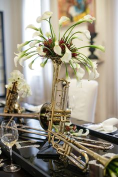 All That Jazz musical instrument centerpieces with sheet
